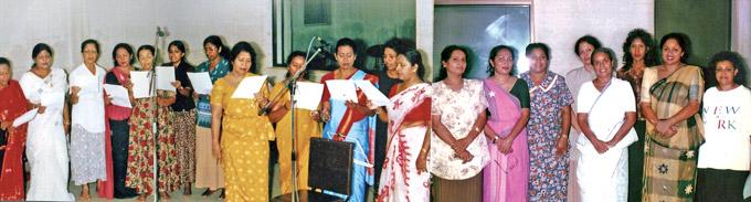 Artistes practicing song Dalvalamu Api Eka Iti Pahanak